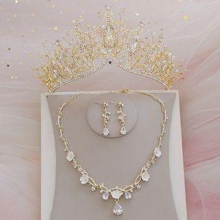 la Himi - 婚礼树枝水钻皇冠 / 项链 / 耳坠 / 套装