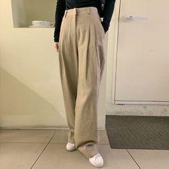 FROMBEGINNING - Wide-Leg Linen Blend Pants