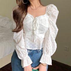 Windflower - 系带荷叶边短款衬衫