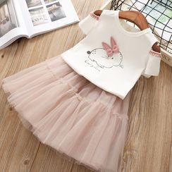 ZiG ZaG - Kids Set: Rabbit Print Cold Shoulder Short-Sleeve T-Shirt + Midi Mesh Skirt