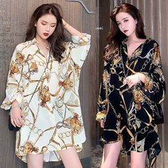Enoki - Plus Size Long-Sleeve Pattern Print Shirt Dress
