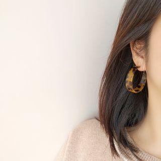 Mimishi - Leopard Print Acetate Open Hoop Earring