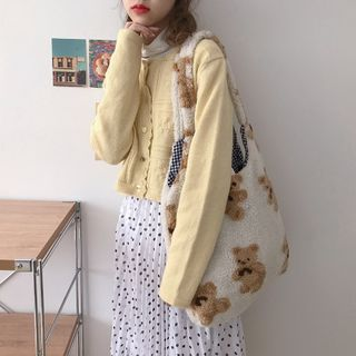 TangTangBags - Bear Print Fleece Tote Bag