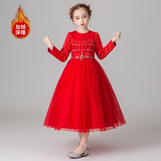 Doveark - Kids Long-Sleeve A-Line Mesh Dress
