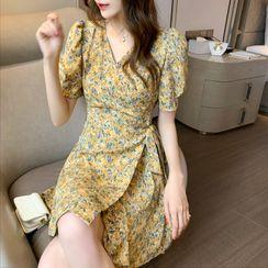 Luminato - Puff-Sleeve Floral Print Tie-Waist A-Line Mini Dress