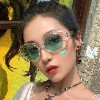 Aisyi(アイシー) - Retro Oval Glitter Resin Sunglasses