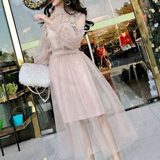 Juanita(ジュアニタ) - Mesh Long-Sleeve Midi A-Line Dress