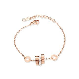 BELEC - Simple Plated Rose Gold Fashion Roman Numerals Geometric Circle 316L Stainless Steel Bracelet with Cubic Zirconia