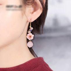 Gangnam - 复古宝石饰珠及花朵耳坠