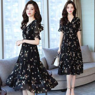 Voila - Ruffled Floral Print Short-Sleeve Midi Chiffon Dress