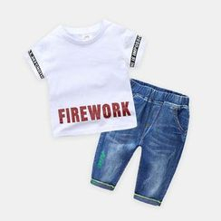 Seashells Kids - Kids Set: Lettering Short-Sleeve T-Shirt + Distressed Embroidered Jeans