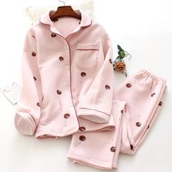 Dogini - Pajama Set: Cherry Print Shirt + Lounge Pants
