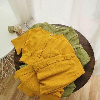 Miss Puff - Set: Short-Sleeve Crop Top + Midi A-Line Skirt