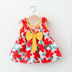 Mini Bae - Kids Floral Bow Sleeveless Dress