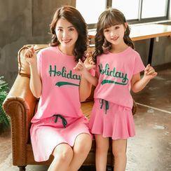 PAM - Family Matching Set: Cap-Sleeve Lettering T-Shirt + Mini A-Line Skirt