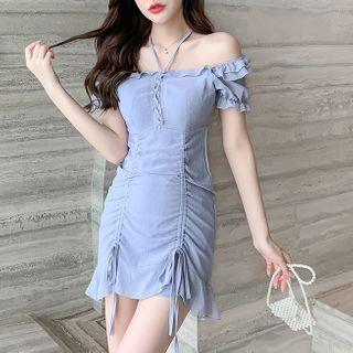 Termane - Short-Sleeve Chiffon Mini Dress