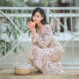 Fancy Show - 長袖碎花A字雪紡連衣中裙