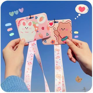 Momoi - Cartoon Print Neck Strap / Keyring Card Holder