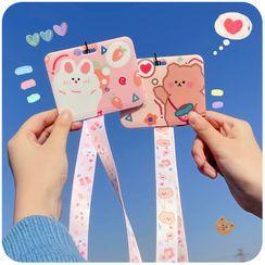 Momoi - Cartoon Print Neck Strap / Keyring Card Holder