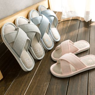EMERY.V - Couple Matching Cross Strap Home Slippers