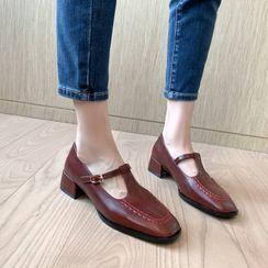 Freesia - 純色T字帶粗跟鞋