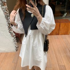 Windcatcher - 不對稱馬甲/燈籠袖寬鬆連衣裙