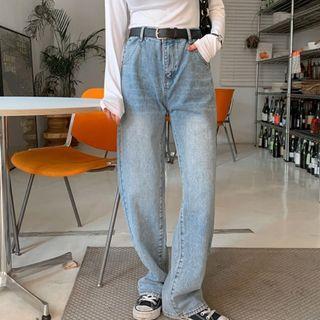 MERONGSHOP - High-Waist Washed Wide-Leg Jeans