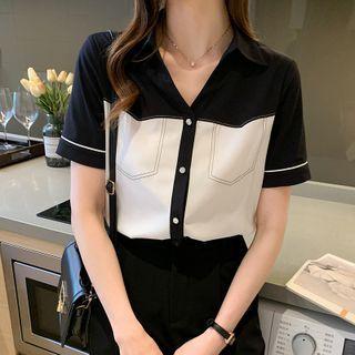 EFO - Short Sleeve V-Neck Two Tone Chiffon Shirt