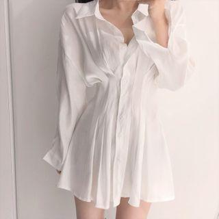 Pomona - 長袖A字襯衫連衣裙