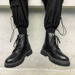 Lazi Boi - Plain Faux Leather Lace-Up Short Boots