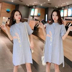 Empressa - Maternity  Short-Sleeve Rabbit Embroidered Striped Shirtdress
