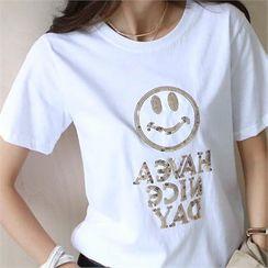 NAK21 - Smile Letter Sequined T-Shirt