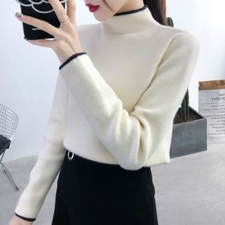 Norte - Contrast Trim Mock-Turtleneck Sweater