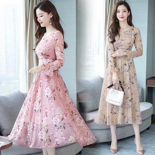 Glaypio - Long-Sleeve Floral Midi A-Line Dress