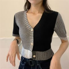 Zepto - Short-Sleeve Color Block Button-Up Knit Top