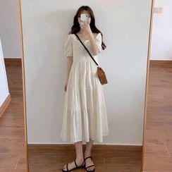 Unyverso - Short-Sleeve Eyelet Lace Midi A-Line Dress