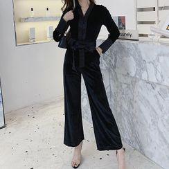 Yilda - Long-Sleeve Velvet Jumpsuit