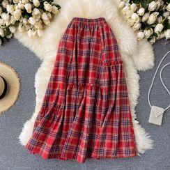 Lucuna - Ruffle Plaid  Maxi Skirt
