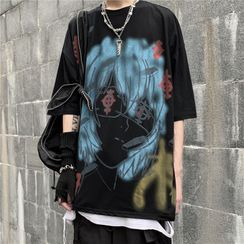 2DAWGS - Cartoon Print Oversize Elbow-Sleeve T-Shirt