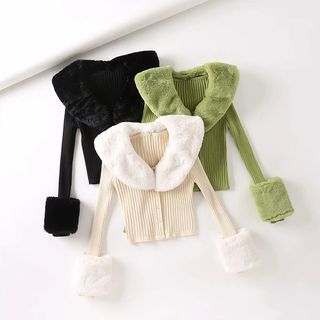 Reknovine - Faux Fur Trim Rib-Knit Cardigan
