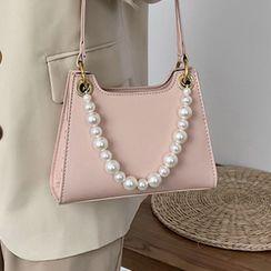 Kunado - Faux Pearl Faux Leather Handbag