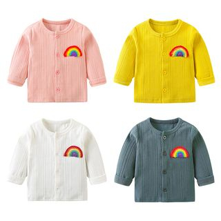 MOM Kiss - Kids  Rainbow Applique Button Jacket