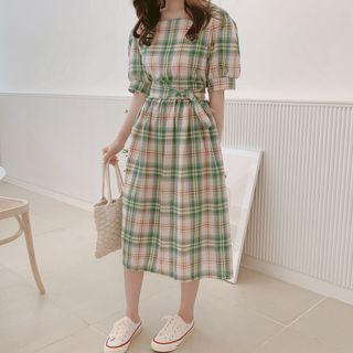 Aumoti - Plaid Short-Sleeve Midi A-Line Dress