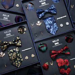 NINIRUSI - Set: Neck Tie + Bow Tie + Tie Clip + Cufflinks + Lapel Pin