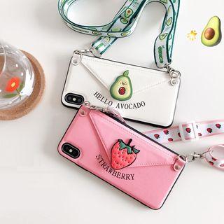 CeLLEAGUE - Fruit Print Card Holder Mobile Case - iPhone XS Max / XS / XR / X / 8 / 8 Plus / 7 / 7 Plus / 6 / 6ss / 6 Plus / 6s Plus