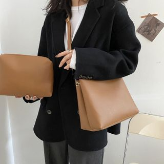 Perlin - Set: Faux Leather Crossbody Bag + Pouch