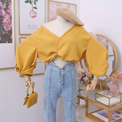 Babique - Wide-Neck Knotted Crop Blouse