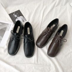 HOGG - Faux Leather Lace-Up Loafers