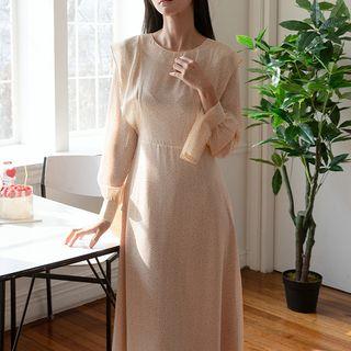 NAIN - Cuff-Detail Ruffled Long Dotted Dress