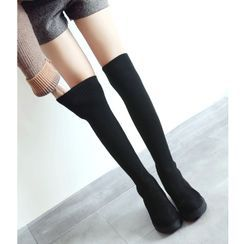 Freesia - Knit Panel Over-The-Knee Boots
